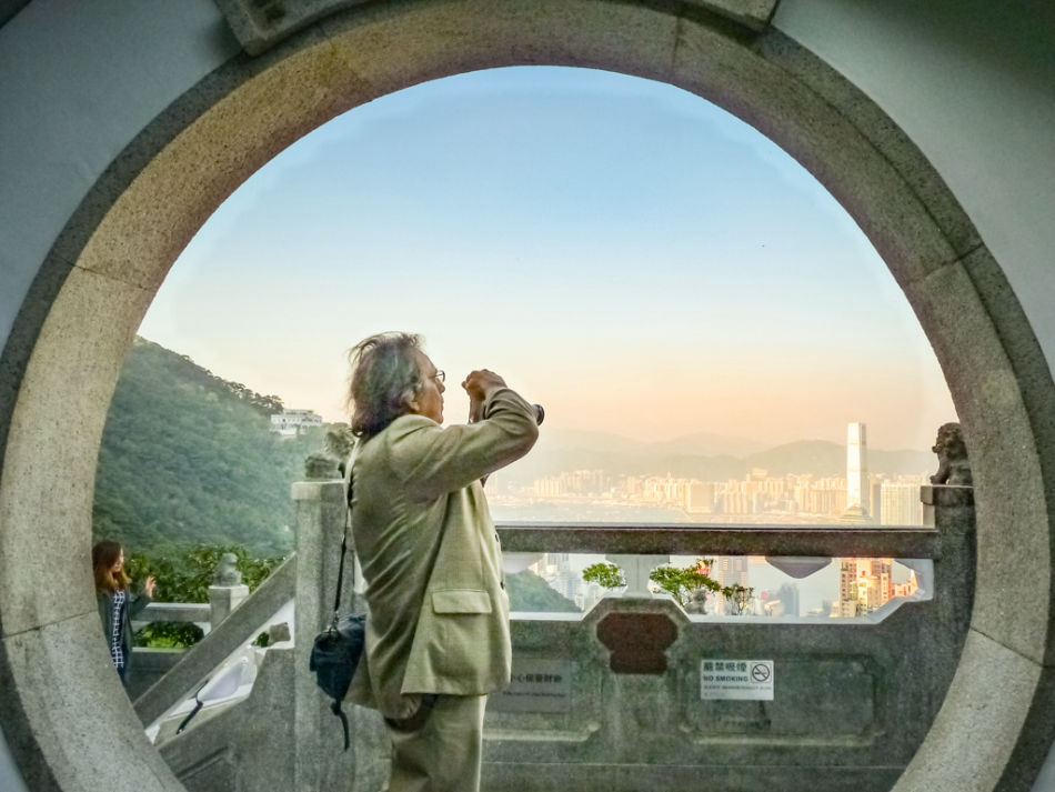 An image of the photographer at The Peak in Hong Kong.